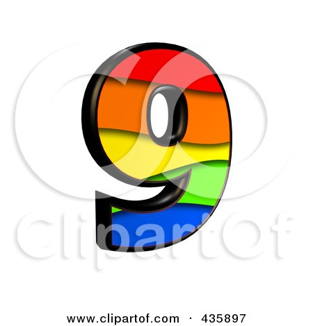 Royalty-Free (RF) Clipart Illustration of a 3d Rainbow Symbol; Number 9 by chrisroll