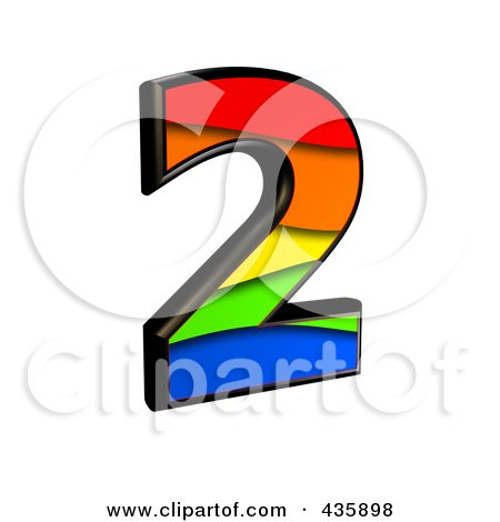 Royalty-Free (RF) Clipart Illustration of a 3d Rainbow Symbol; Number 2 by chrisroll