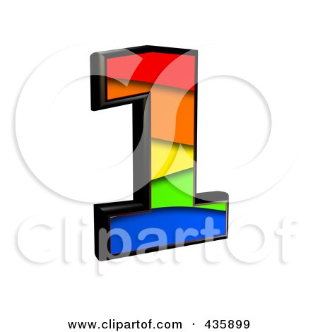 Royalty-Free (RF) Clipart Illustration of a 3d Rainbow Symbol; Number 1 by chrisroll