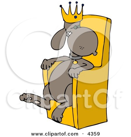 King Dog Wearing a Gold Crown and Sitting in a Golden Chair Clipart by djart