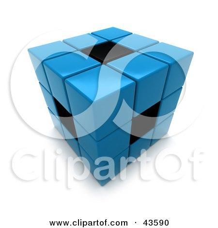 3d Blue And Black Puzzle Cube Posters, Art Prints