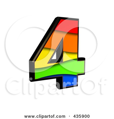 Royalty-Free (RF) Clipart Illustration of a 3d Rainbow Symbol; Number 4 by chrisroll