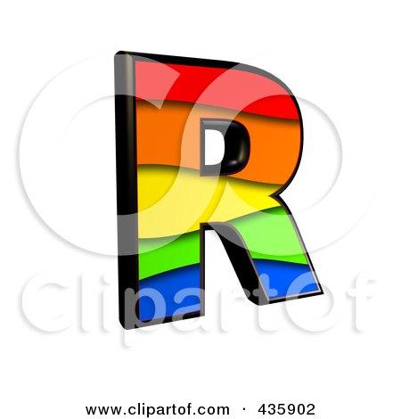 Royalty-Free (RF) Clipart Illustration of a 3d Rainbow Symbol; Capital Letter R by chrisroll