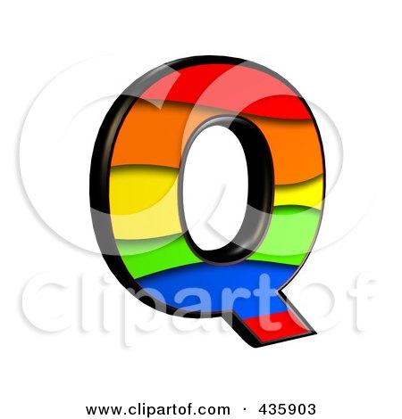 Royalty-Free (RF) Clipart Illustration of a 3d Rainbow Symbol; Capital Letter Q by chrisroll