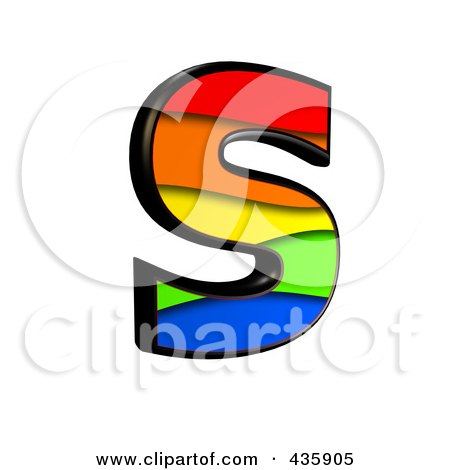 Royalty-Free (RF) Clipart Illustration of a 3d Rainbow Symbol; Capital Letter S by chrisroll