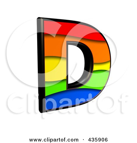 Royalty-Free (RF) Clipart Illustration of a 3d Rainbow Symbol; Capital Letter D by chrisroll
