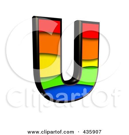 Royalty-Free (RF) Clipart Illustration of a 3d Rainbow Symbol; Capital Letter U by chrisroll