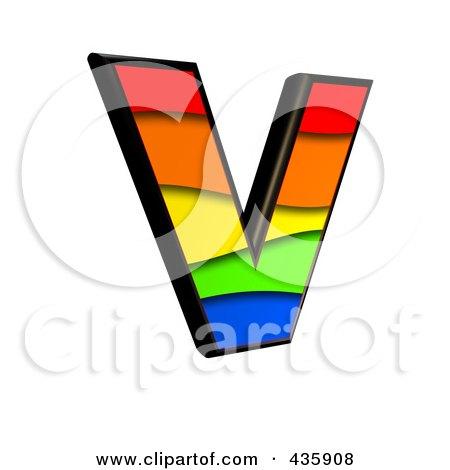 Royalty-Free (RF) Clipart Illustration of a 3d Rainbow Symbol; Capital Letter V by chrisroll