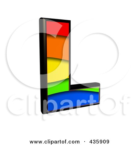 Royalty-Free (RF) Clipart Illustration of a 3d Rainbow Symbol; Capital Letter L by chrisroll