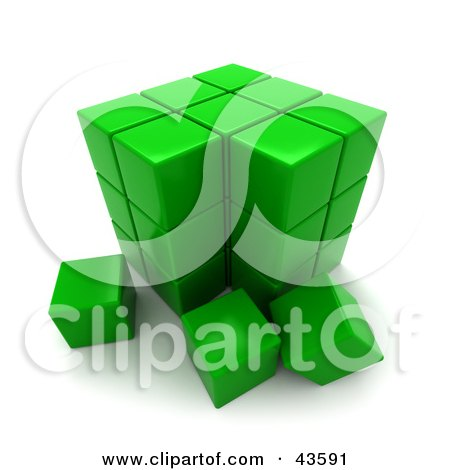 Clipart Illustration of a 3d Green Puzzle Cube by Frank Boston