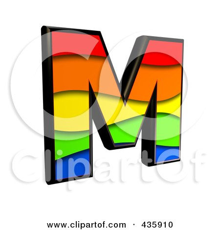 Royalty-Free (RF) Clipart Illustration of a 3d Rainbow Symbol; Capital Letter M by chrisroll