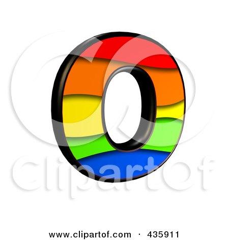 Royalty-Free (RF) Clipart Illustration of a 3d Rainbow Symbol; Capital Letter O by chrisroll