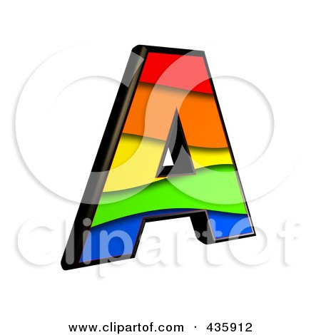 Royalty-Free (RF) Clipart Illustration of a 3d Rainbow Symbol; Capital Letter A by chrisroll