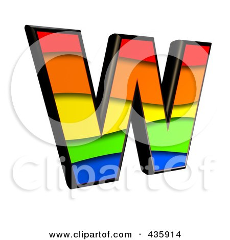 Royalty-Free (RF) Clipart Illustration of a 3d Rainbow Symbol; Capital Letter W by chrisroll