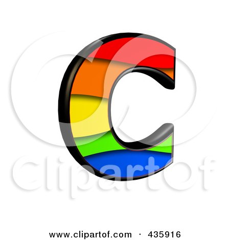 Royalty-Free (RF) Clipart Illustration of a 3d Rainbow Symbol; Capital Letter C by chrisroll