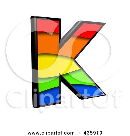 Royalty-Free (RF) Clipart Illustration of a 3d Rainbow Symbol; Capital Letter K by chrisroll