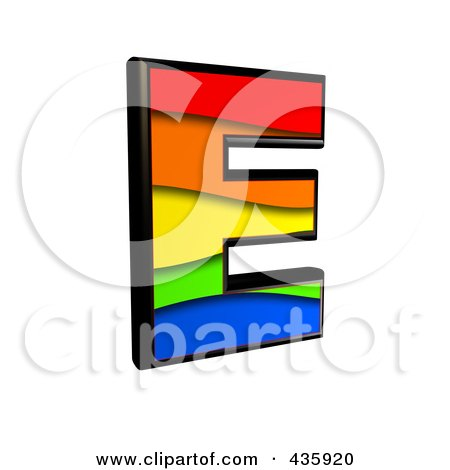 Royalty-Free (RF) Clipart Illustration of a 3d Rainbow Symbol; Capital Letter E by chrisroll