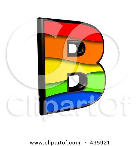 Royalty-Free (RF) Clipart Illustration of a 3d Rainbow Symbol; Capital Letter B by chrisroll
