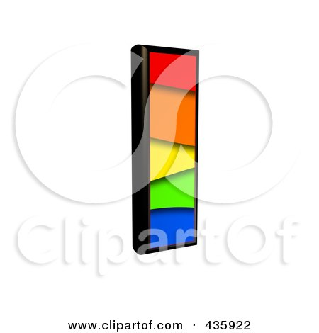 Royalty-Free (RF) Clipart Illustration of a 3d Rainbow Symbol; Capital Letter I by chrisroll