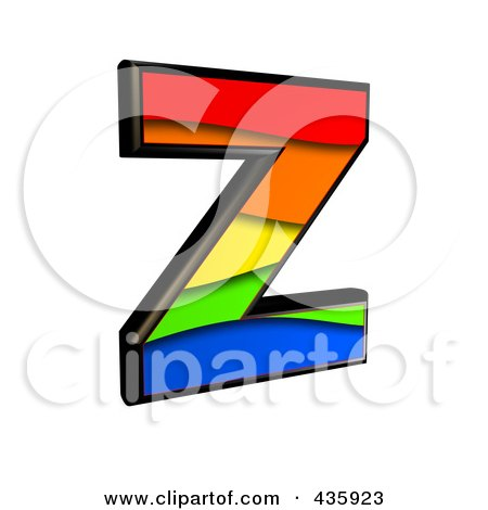 Royalty-Free (RF) Clipart Illustration of a 3d Rainbow Symbol; Capital Letter Z by chrisroll