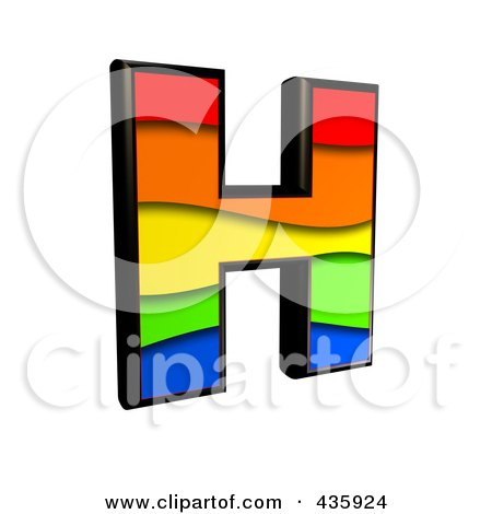 Royalty-Free (RF) Clipart Illustration of a 3d Rainbow Symbol; Capital Letter H by chrisroll