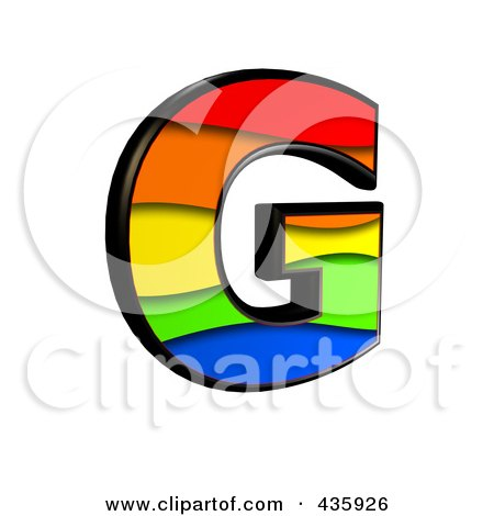 Royalty-Free (RF) Clipart Illustration of a 3d Rainbow Symbol; Capital Letter G by chrisroll