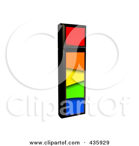 Royalty-Free (RF) Clipart Illustration of a 3d Rainbow Symbol; Lowercase Letter i by chrisroll