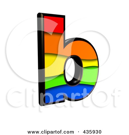 Royalty-Free (RF) Clipart Illustration of a 3d Rainbow Symbol; Lowercase Letter b by chrisroll