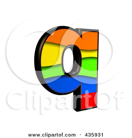 Royalty-Free (RF) Clipart Illustration of a 3d Rainbow Symbol; Lowercase Letter q by chrisroll