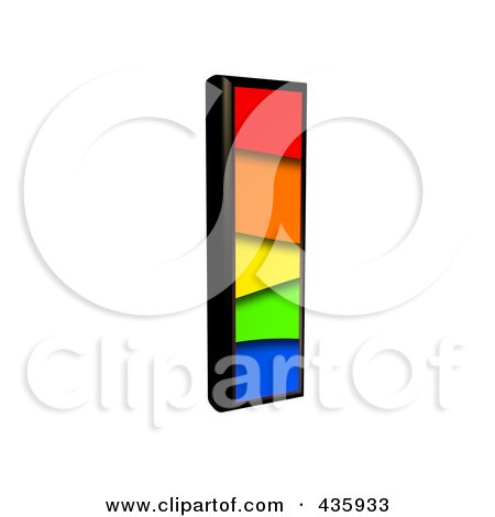 Royalty-Free (RF) Clipart Illustration of a 3d Rainbow Symbol; Lowercase Letter l by chrisroll
