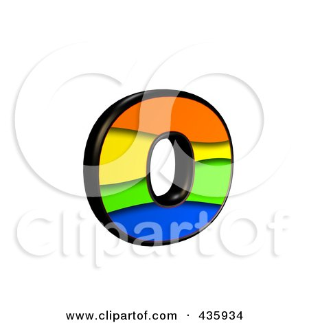 Royalty-Free (RF) Clipart Illustration of a 3d Rainbow Symbol; Lowercase Letter o by chrisroll