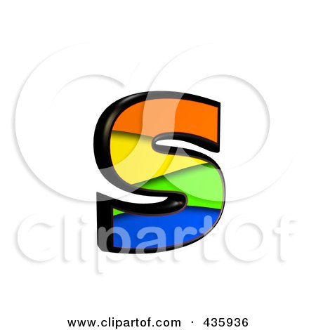 Royalty-Free (RF) Clipart Illustration of a 3d Rainbow Symbol; Lowercase Letter s by chrisroll
