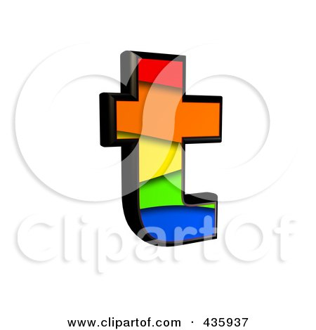 Royalty-Free (RF) Clipart Illustration of a 3d Rainbow Symbol; Lowercase Letter t by chrisroll