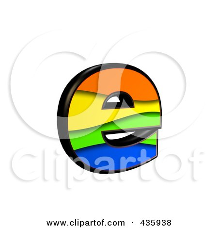 Royalty-Free (RF) Clipart Illustration of a 3d Rainbow Symbol; Lowercase Letter e by chrisroll