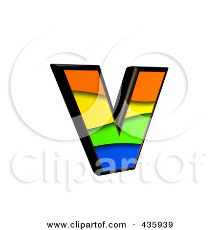 Royalty-Free (RF) Clipart Illustration of a 3d Rainbow Symbol; Lowercase Letter v by chrisroll