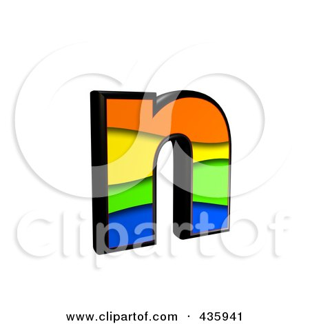 Royalty-Free (RF) Clipart Illustration of a 3d Rainbow Symbol; Lowercase Letter n by chrisroll