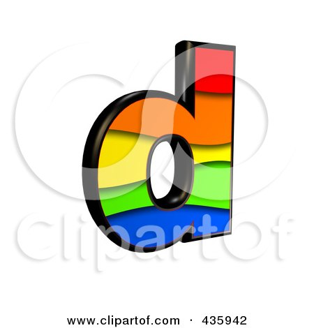 Royalty-Free (RF) Clipart Illustration of a 3d Rainbow Symbol; Lowercase Letter d by chrisroll