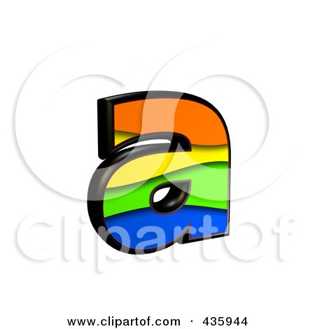 Royalty-Free (RF) Clipart Illustration of a 3d Rainbow Symbol; Lowercase Letter a by chrisroll