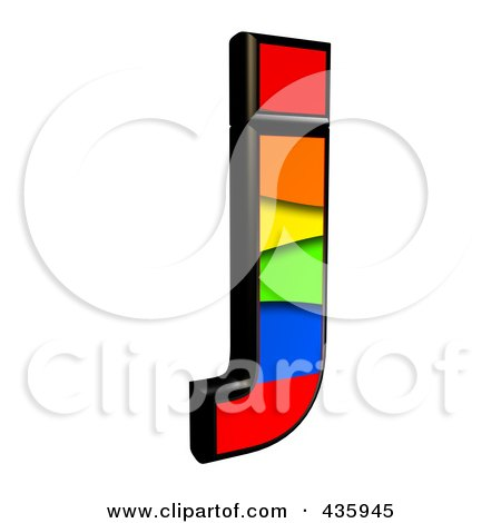 Royalty-Free (RF) Clipart Illustration of a 3d Rainbow Symbol; Lowercase Letter j by chrisroll