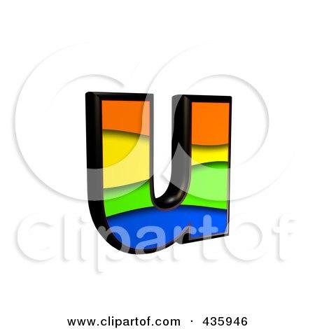Royalty-Free (RF) Clipart Illustration of a 3d Rainbow Symbol; Lowercase Letter u by chrisroll