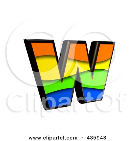 Royalty-Free (RF) Clipart Illustration of a 3d Rainbow Symbol; Lowercase Letter w by chrisroll