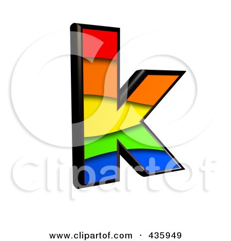 Royalty-Free (RF) Clipart Illustration of a 3d Rainbow Symbol; Lowercase Letter k by chrisroll