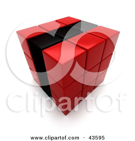 Clipart Illustration of a 3d Red And Black Puzzle Cube by Frank Boston