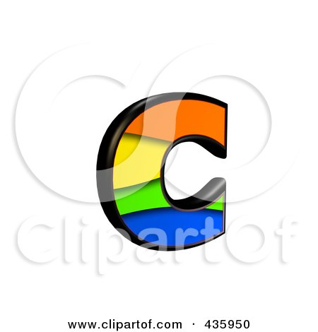 Royalty-Free (RF) Clipart Illustration of a 3d Rainbow Symbol; Lowercase Letter c by chrisroll