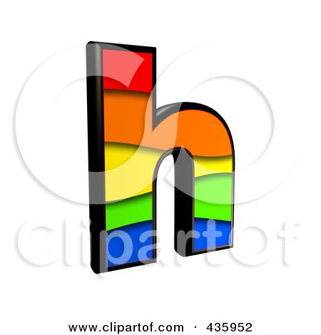 Royalty-Free (RF) Clipart Illustration of a 3d Rainbow Symbol; Lowercase Letter h by chrisroll