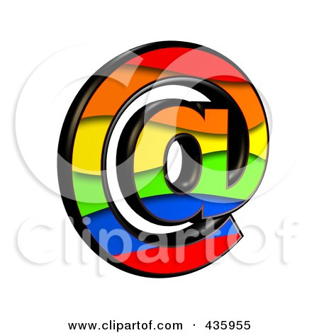 Royalty-Free (RF) Clipart Illustration of a 3d Rainbow Symbol; Email At Arobase by chrisroll