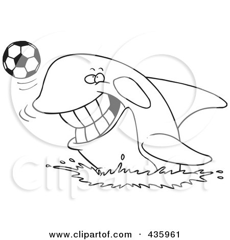 Royalty-Free (RF) Clipart Illustration of a Line Art Design Of An Orca Playing With A Soccer Ball by toonaday