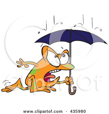 Royalty-Free (RF) Clipart Illustration of a Frog Dashing Through The Rain With An Umbrella by toonaday