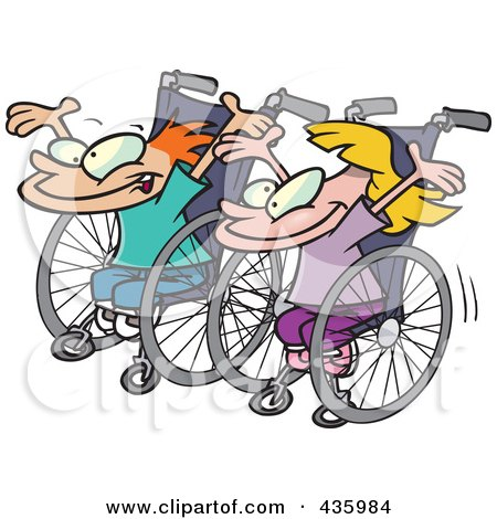 Royalty-Free (RF) Clipart Illustration of a Boy And Girl Ready For A Wheelchair Race by toonaday