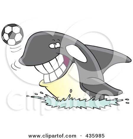 Royalty-Free (RF) Clipart Illustration of an Orca Whale Playing With A Soccer Ball by toonaday